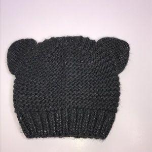 GAP Kids Gray Metallic Bear Knit Hat Size XL
